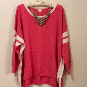 J. Crew pink/cream oversized sweater size XL